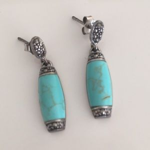 Silver & turquoise earrings from Thailand
